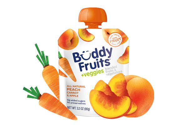Buddy Fruits Peach, Carrot, Apple pouch