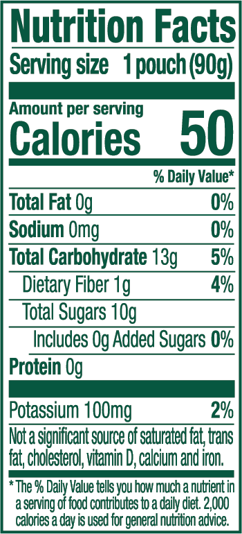 Banana Apple Nutrition Label