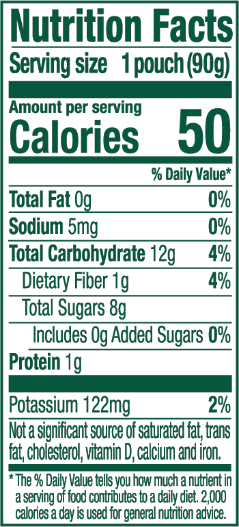Blueberry Sweet Potato Nutrition Label