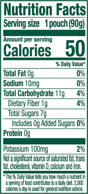 Spinach Pear Nutrition label